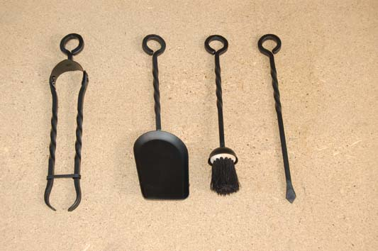 Poker, Shovel, Brush and Spring Tongs with twists for C3 and Old English Companion Sets
